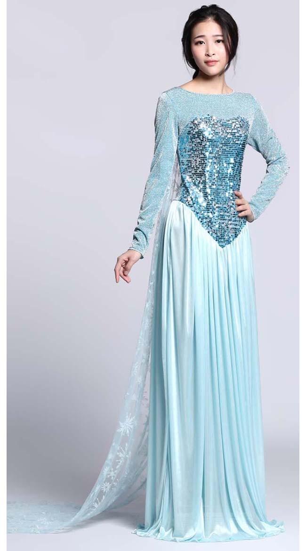 Paljetti Frozen Elsa Mekko Aikuisille