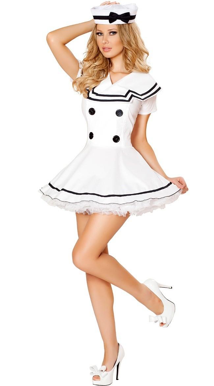 Seksikäs Valkoinen Sailor Neito Puku