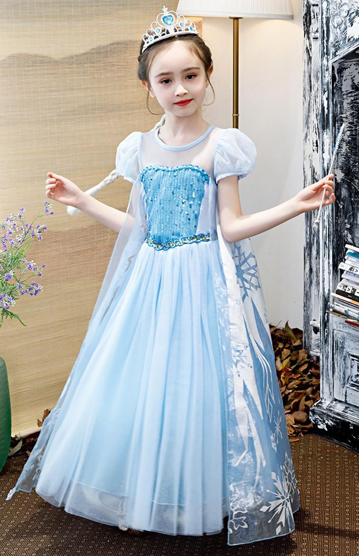 Deluxe Kuningatar Frozen Elsa Mekko Lapsille Paljetti