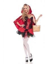 Halloween Satiini Korsetti Punahilkka Asu
