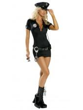 Seksikäs musta liikennepoliisit puku