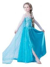 Frozen Elsa Mekko Lapsille Paljetin Sininen