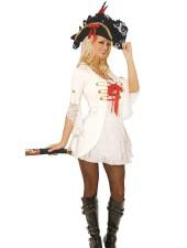 Valkoinen seksikäs kapteeni merirosvoasu aikuisille