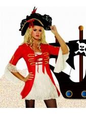 Punainen seksikäs kapteeni merirosvoasu aikuisille