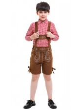 Lapset Bavarian Oktoberfest Lederhosen Mekko Ruskea