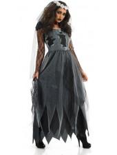 Musta Pitkä Halloween Zombiemorsian Asu
